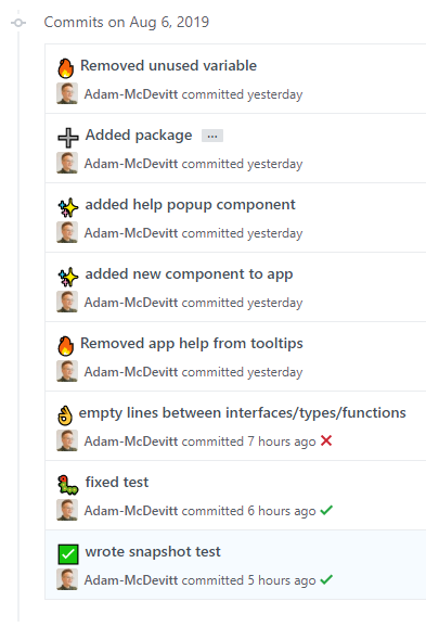 Commit history containing emojis