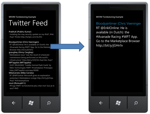 A Simple Windows Phone 7 MVVM Tombstoning Example