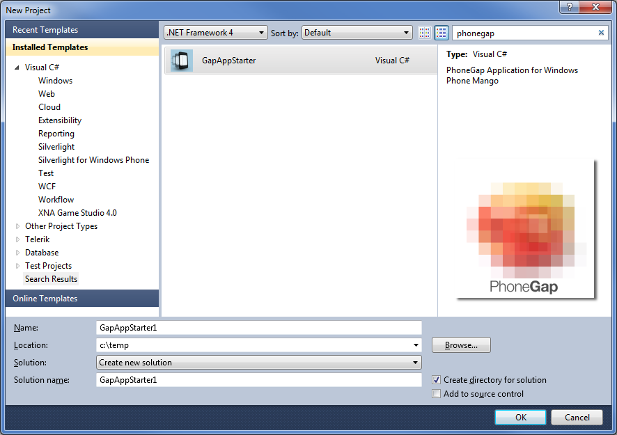 Developing windows phone 7 html5 apps with phonegap for Phonegap project template