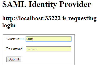 SAML Login screen prompting for username and password