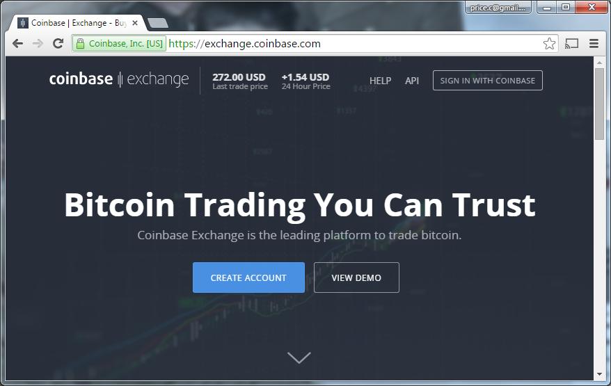 Coinbase Exchange homepage screenshot