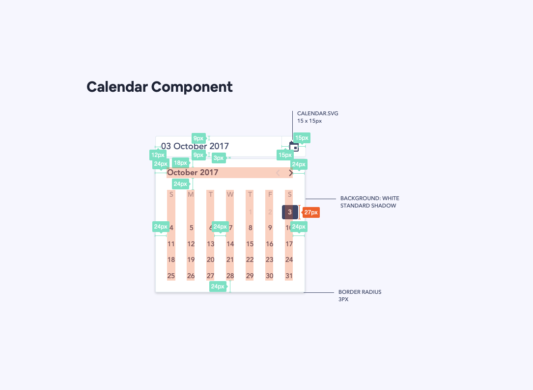 Example of visual specs added to a calendar component