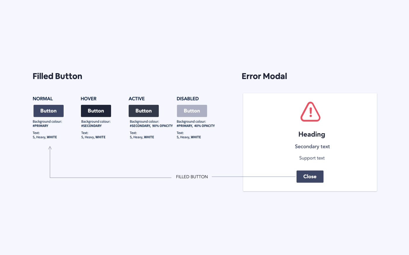 Example showing button components used in error modal