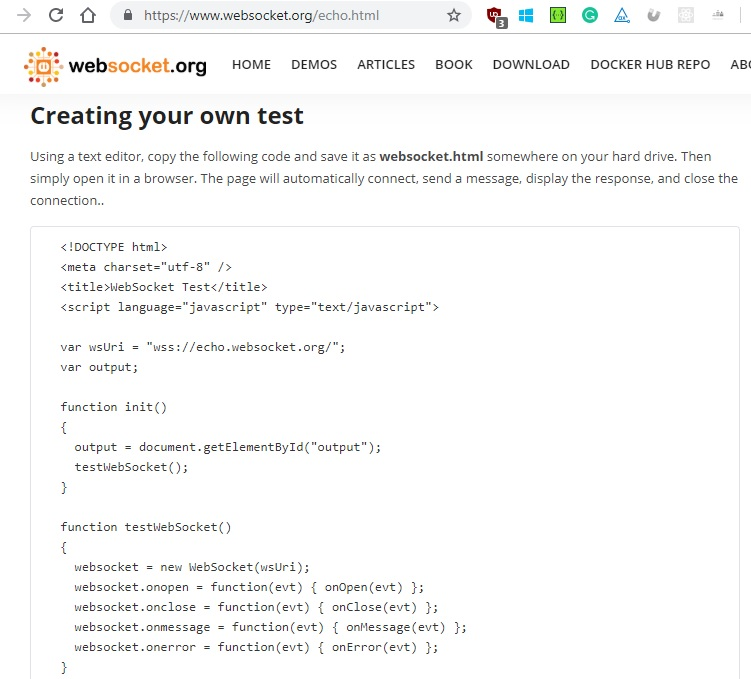 Picture of the code from the websocket.org website used to test WebSockets through a browser
