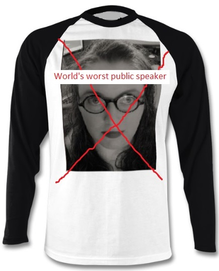T-shirt with author's face covered by a big red x and the words 'World's worst public speaker'