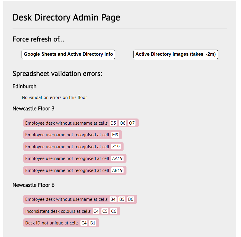Admin page to show errors in the spreadsheets