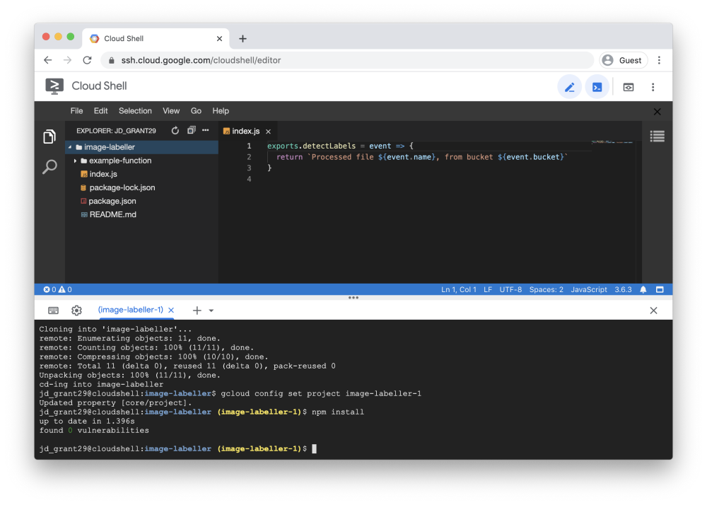 Screenshot of the Cloud Shell