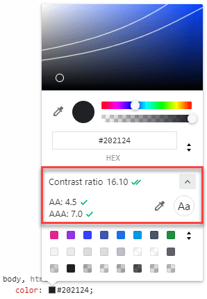 Picking colours with sufficient contrast with Chrome DevTools