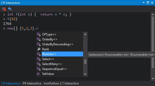 C# interactive window screenshot