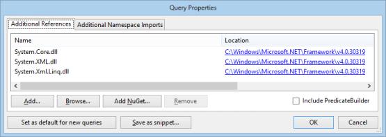 LinqPad references screenshot