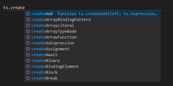 ts.create IntelliSense