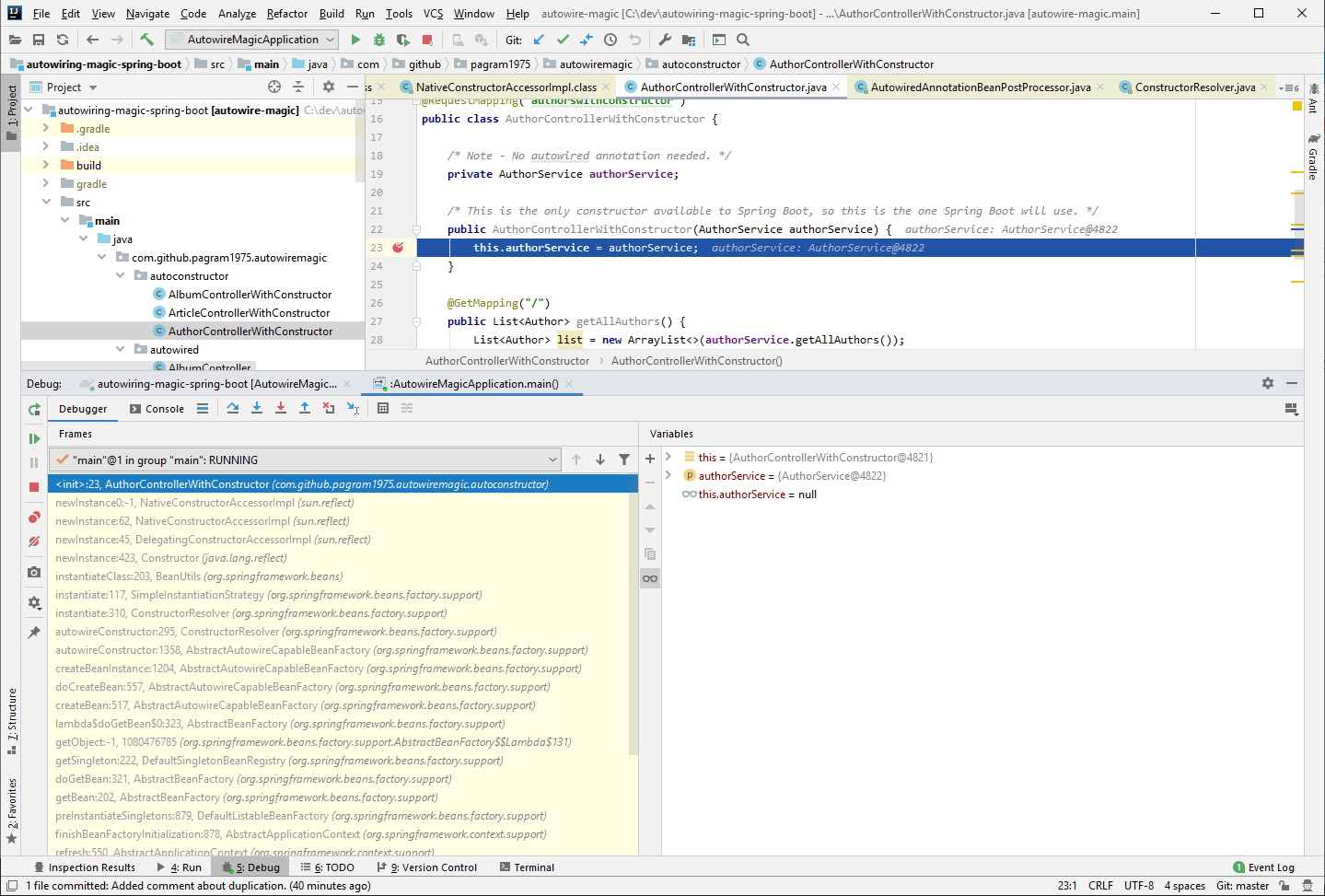 Debugging Spring in IntelliJ Idea to see how the constructor is called
