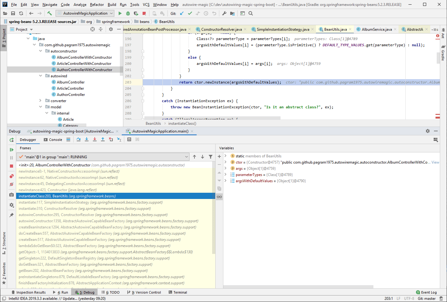 Debugging Spring in IntelliJ Idea shows the constructor is invoked via Java reflection
