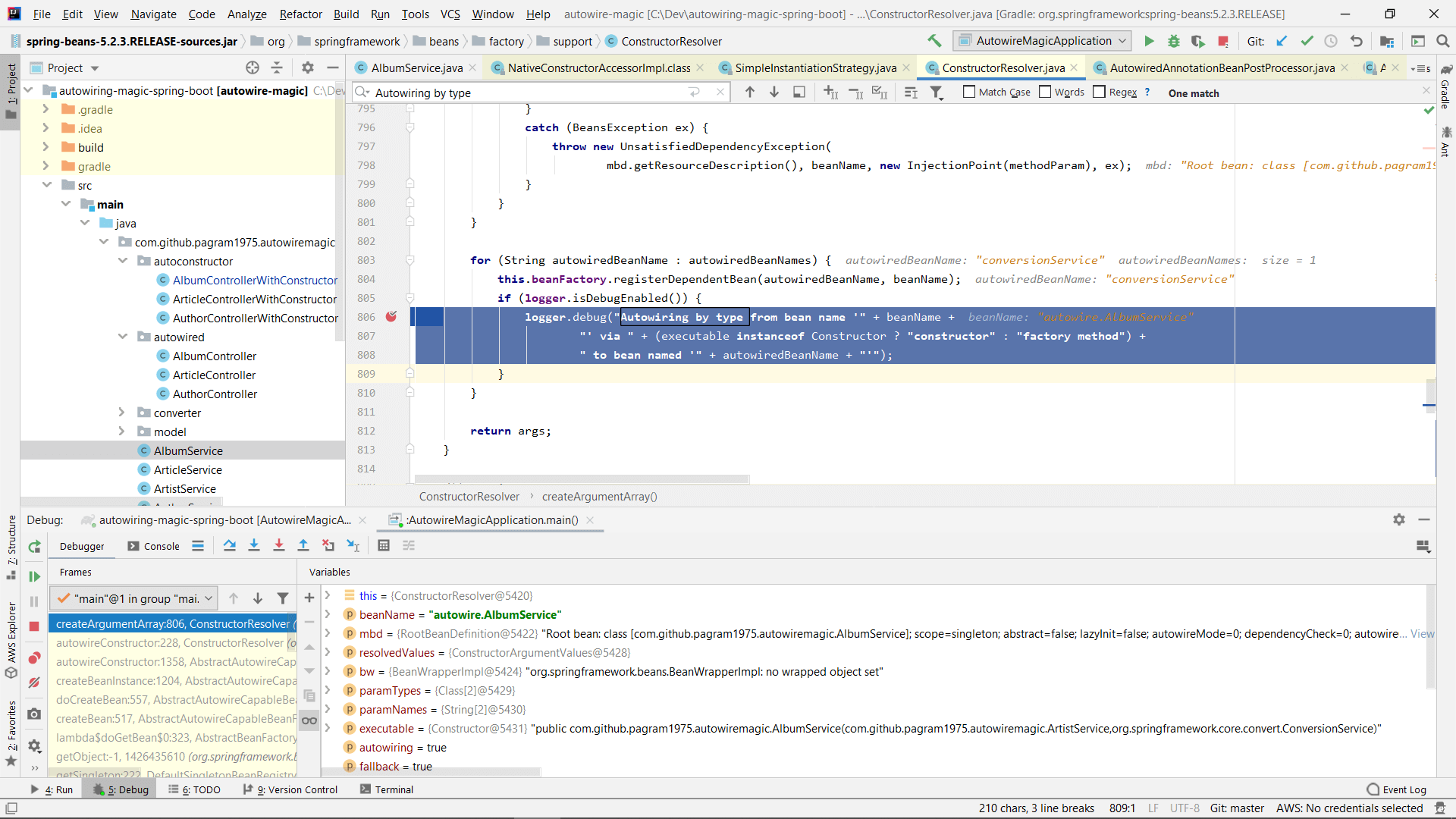 Debugging Spring in IntelliJ Idea to see how the constructor arguments are resolved