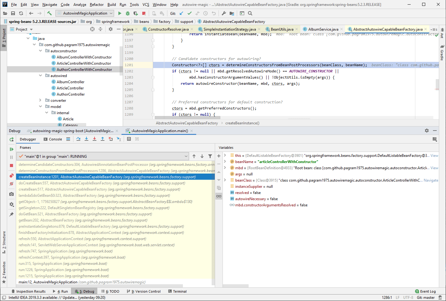 Debugging Spring in IntelliJ Idea to see which classes are involved in creating the controller