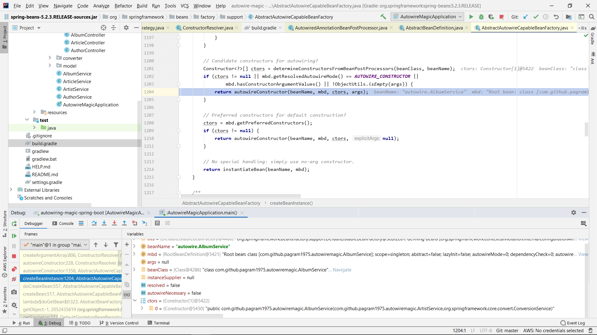Debugging Spring in IntelliJ Idea to see the constructor for AlbumService has been chosen