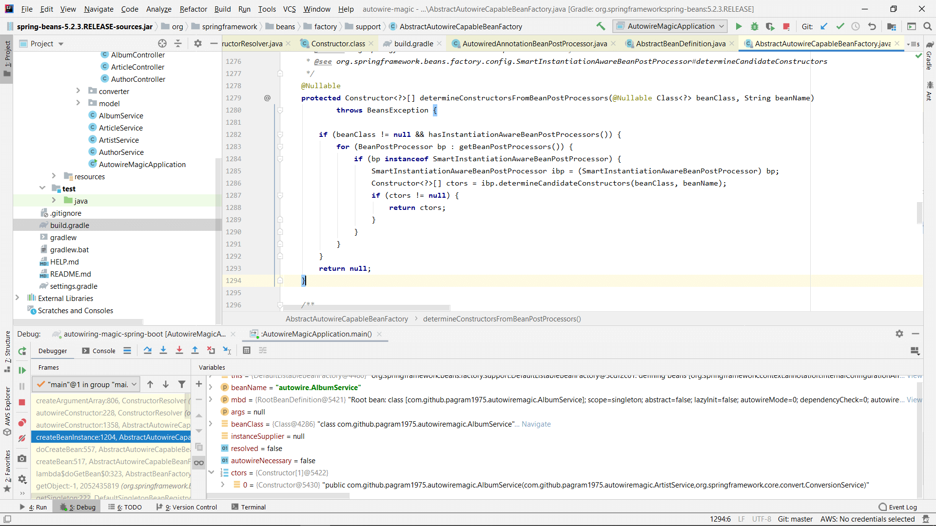 Debugging Spring in IntelliJ Idea to see the code for the determineConstructorsFromBeanPostProcessors method