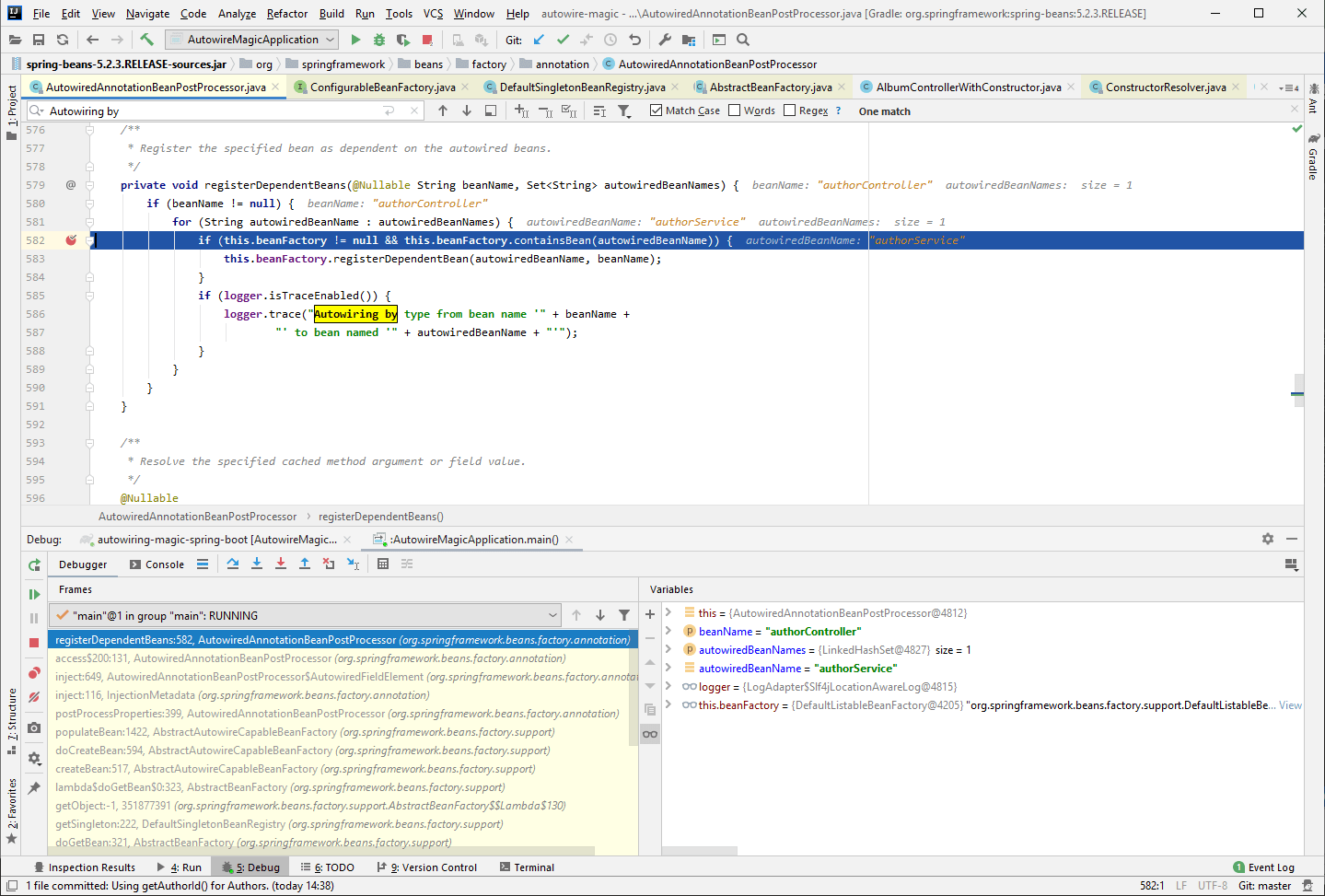 Debugging Spring in IntelliJ Idea to see how the dependency is registered