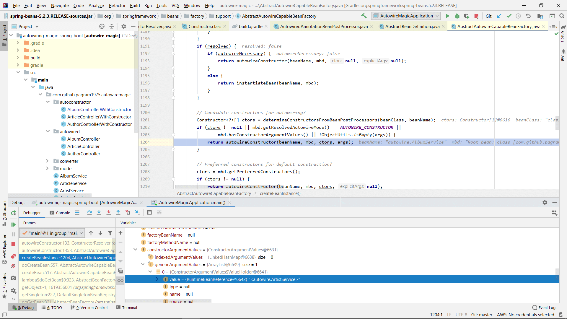 Debugging Spring in IntelliJ Idea to see the configuration data held in the RootBeanDefinition