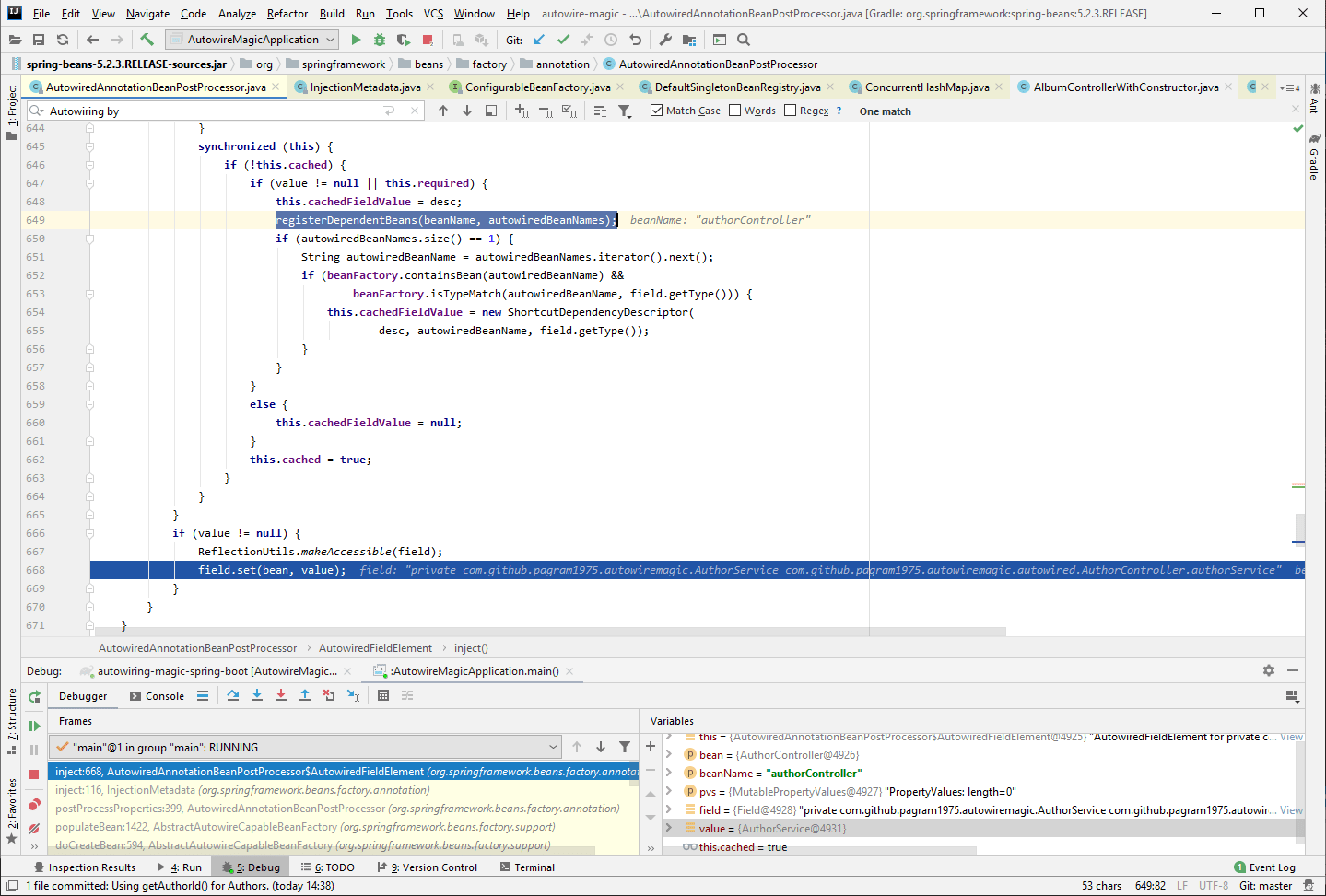 Debugging Spring in IntelliJ Idea to see how the dependency is resolved and set