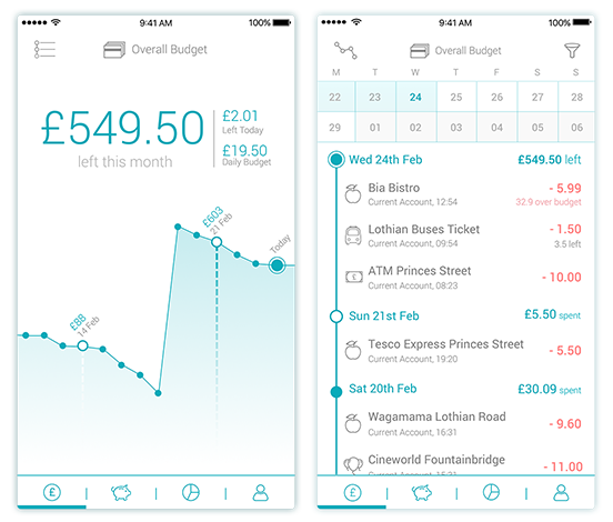 Overview and transactions screens