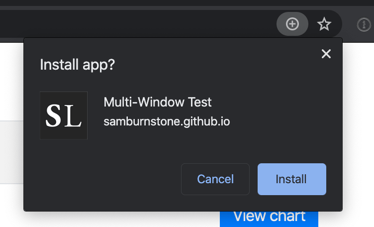 Chrome's install PWA button that appears in the address bar