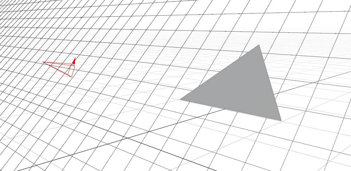 The plane is shown as an infinite grid that the triangle is sitting on