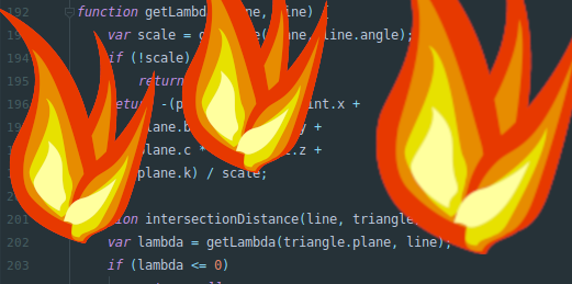 An image of some code with cartoon fire superimposed