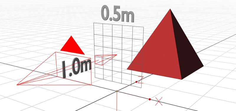 A grid appears in the scene, with an arrow from the camera demonstrating that it is 1m away and 0.5m wide.