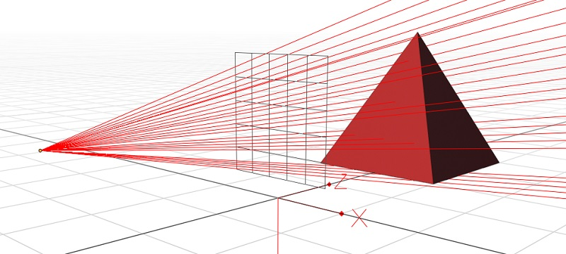 Many bright-red lines appear, propoagating from the camera's location and shooting off into the distance. Some go through the pyramid.