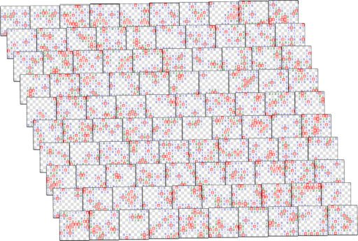 The board is split into 100 squares, each 10x10 cells. They are slightly overlapping in this view