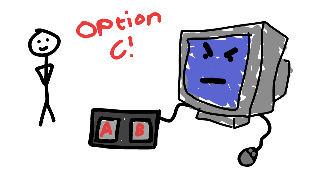 Option A or Option B, asks the computer. The human knows what they want - Option C! Computer is ANGRY!