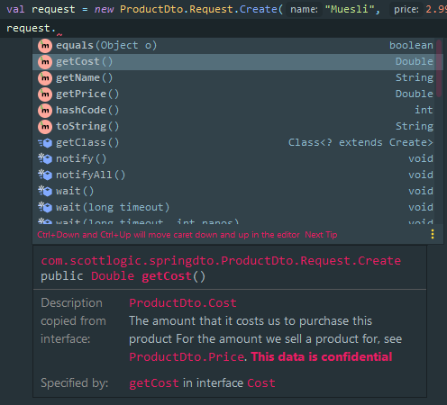 The documentation for getCost() on a DTO class is automatically copied from the Cost interface