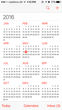 iOS Calendar (Yearly, monthly and daily views)