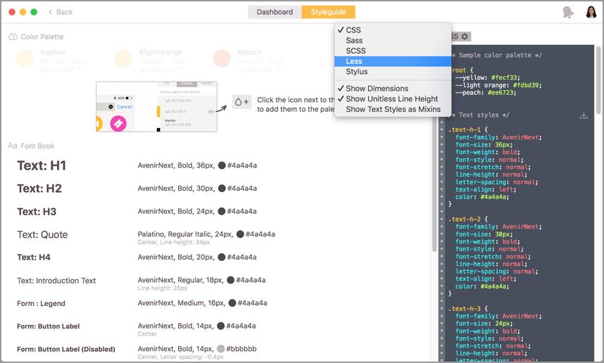 Zeplin, Select the stylesheet language