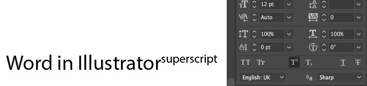 Illustrator superscript text