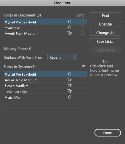 Illustrator find font