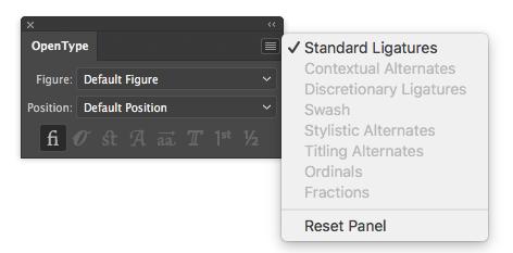Illustrator Opentype options