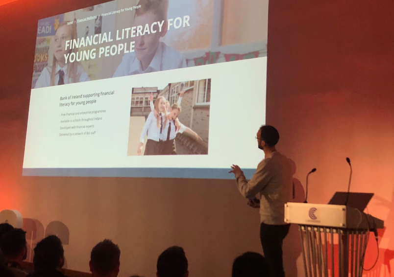 Joel Bailey, Managing Consultant at EY Seren talking about the Bank of Ireland Financial Literacy and Entrepreneurship programmes for primary and secondary schools.