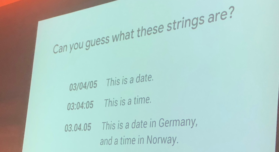 Skip Alums, UX Manager at Google, showing an example of how the same string has different meanings in different locations.