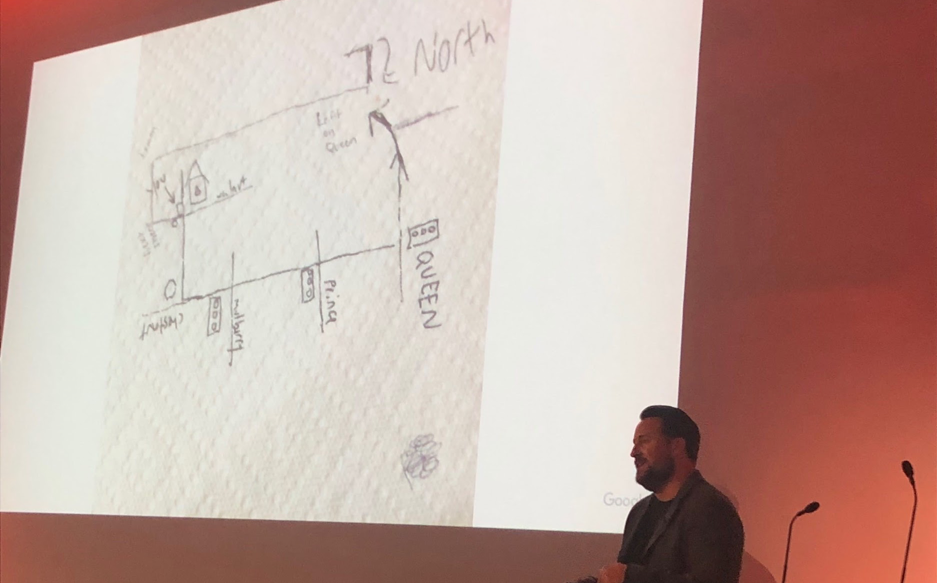 Skip Alums, UX Manager at Google, showing an example of how you would typically give directions to someone.