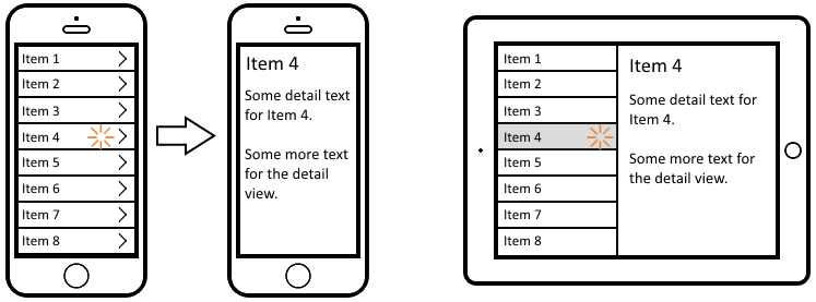 iPhone and iPad master-detail layouts
